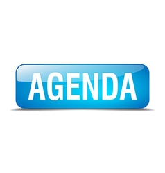Agenda blue square 3d realistic isolated web vector