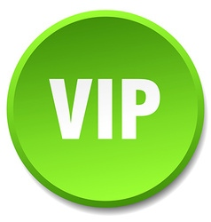 Vip green round flat isolated push button vector