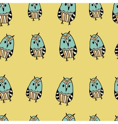 Seamless pattern with cute funny hand drawn owls vector