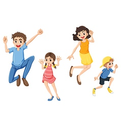 A happy family jumping vector image vector image