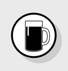 Beer glass sign flat black icon in white vector