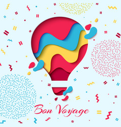 Bon voyage paper art hot air balloon concept vector