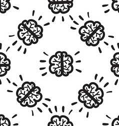 Brain seamless pattern hand drawn vector image