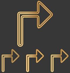 Bronze line turn logo design set vector