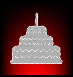 Cake with candle sign postage stamp or old photo vector