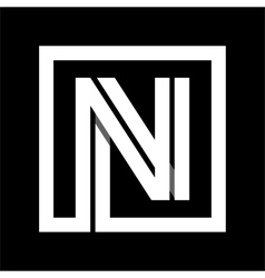Capital letter n from white stripe enclosed in a vector