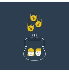 Children money accumulation allowance concept vector
