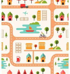 City map seamless background pattern vector image vector image