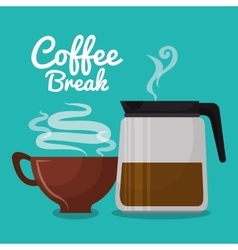coffee maker glass and cup brown coffee graphic vector image