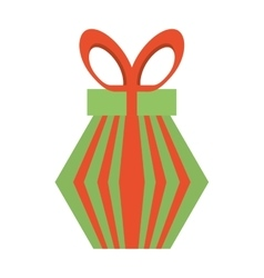 Colored gift box red and green stripes bow vector
