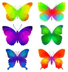 Colorful butterflies with triangular polygons vector image vector image