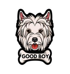 dog west highland white terrier bone good boy vector image