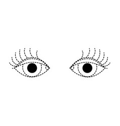 Dotted shape vision eyes with eyelashes style vector