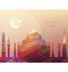 Eid al-fitr greeting card watercolor mosque vector