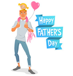 Father s day card father with daughter vector