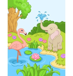 Flamingos and elephant in nature vector