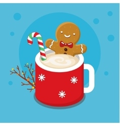 Gingerbread cookie man in a hot cup vector
