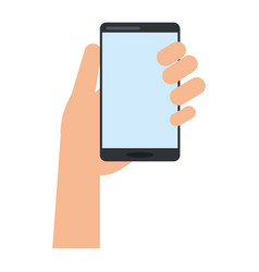 hand holds smartphone device technology vector image vector image