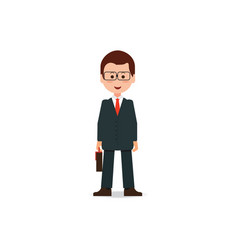 happy businessman in suit with briefcase vector image vector image