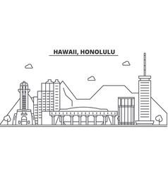 hawaii honolulu architecture line skyline vector image vector image