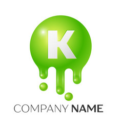 k letter splash green dots and bubbles letter vector image vector image