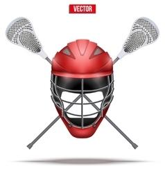 Lacrosse sticks and helmet Label vector image