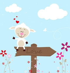 Lovely sheep greeting card vector image vector image
