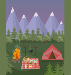Picnic and camping tent mountains background vector