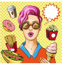 Pop art fast food concept vector