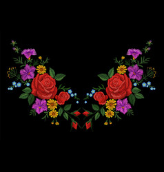 rose flower embroidery texture patch red field vector image vector image