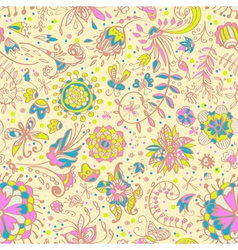 seamless floral doodle background vector image vector image