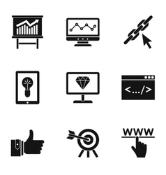Seo optimization icons set simple style vector