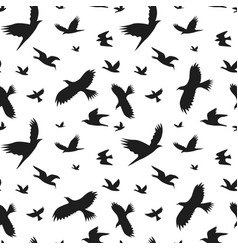 silhouette black fly birds background pattern vector image