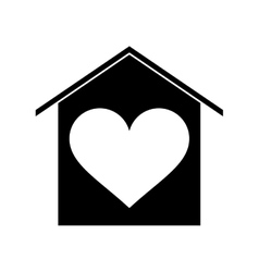 silhouette house love heart beauitful card vector image