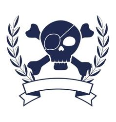 Skull pirate elegant frame vector
