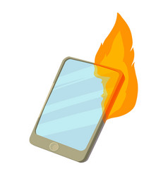 Smartphone on fire icon cartoon style vector