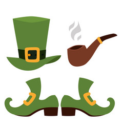 st patricks day icons and leprechaun vector image vector image