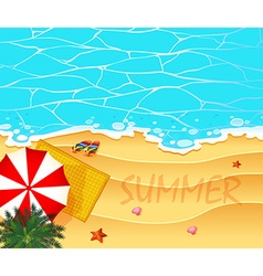 Summer theme with ocean and beach background vector image vector image