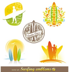 surfing emblems labels vector image