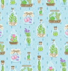 Terrariums on blue background seamless pattern vector image
