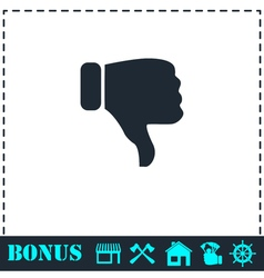Thumbs down icon flat vector
