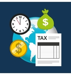 Time tax payment icon vector