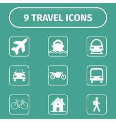 Traveling and transport icons for web and mobile vector