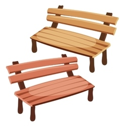 Two isolated wooden benches for decoration vector image vector image