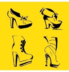 Women Heels elegant shoes and footwear vector image vector image