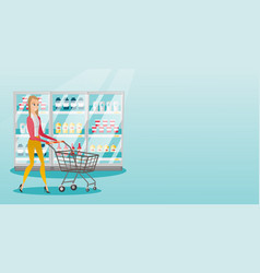 Young caucasian woman with supermarket trolley vector