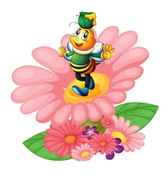 honey bee and flowers vector image
