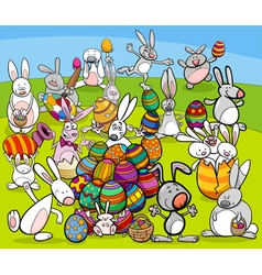 Easter bunny big group cartoon vector