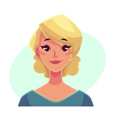 Pretty blond woman neutral facial expression vector