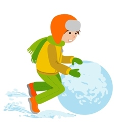 Child with a snowball vector image
